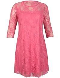 Damen Übergröße Neu Blumen Muster Spitze Kleider Damen Gefüttert 3/4 Ärmel Stretch Fit Abendkleid