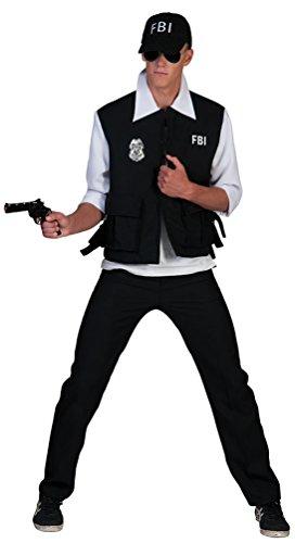 Karneval-Klamotten' Kostüm FBI Agent Kostüm Karneval Polizei Herrenkostüm Größe 56/58 schwarz Komplett Kostüm 3 teilig