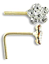 Jewelco London Ladies Solid 9ct Yellow Gold White Round Cubic Zirconia Daisy Flower Nose Stud