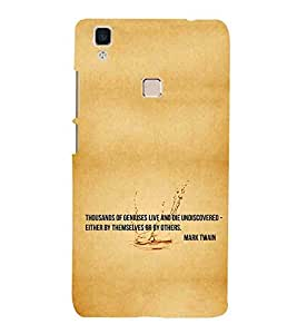 For vivo V3 thousands of geniuses live and die undiscovered either by themselves or by others, good quotes, brown background Designer Printed High Quality Smooth Matte Protective Mobile Pouch Back Case Cover by BUZZWORLD