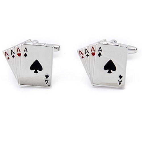 nicos Gemelos De Poker Dise o 4a Tono Plateado Pu o De La Camisa De Moda Para Los Hombres 1pair