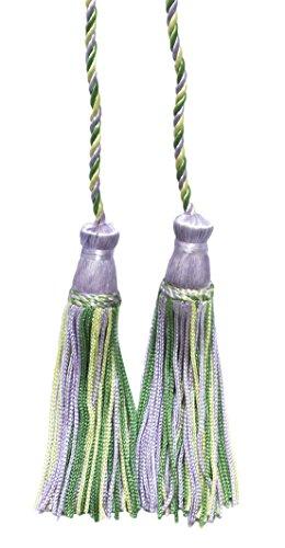 Lot de 2 doux Lilas, Vert, Jaune clair double Tassel/pompon Cravate avec 10,2 cm inch Pompon/propagation 73,7 cm, style # Cdct Couleur : Lilas Arbre – 9403