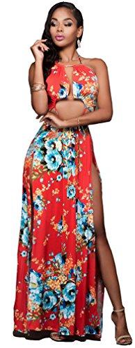 Femmes Sexy sans manches Backless imprimé floral Bodycon de Split Party Clubwear Robe Comme cela est représenté sur la figure