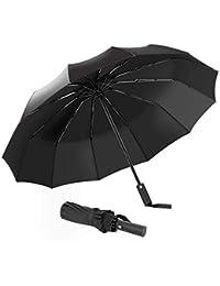 Paraguas Plegable, Abrir y Cerrar automático,210T teflón, 12 Costillas,Robusto