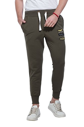 Alan Jones Clothing Men's Cotton Track Pant (JOG18-BGD01-OLIVE-M, Olive, Medium)