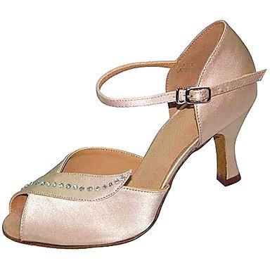 Silence @ Chaussures de danse pour femme en satin/Flocage satiné/Flocage Latin/Jazz/Chaussures de swing/Salsa Sandales/talons Talon nude