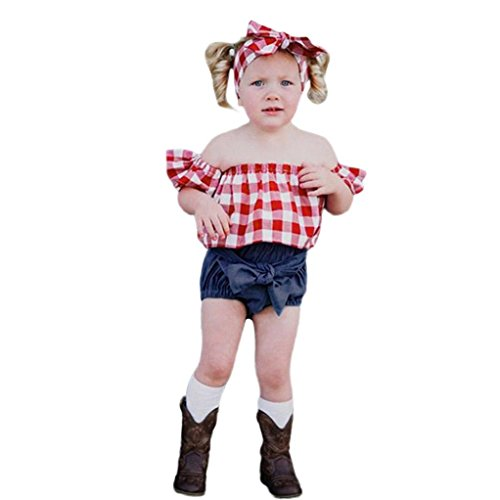 nkind Baby Mädchen Plaid Off-schulter Tops + Denim Shorts + Stirnband Kleidung Set Sommer Outfits Nette 12 Mt-3 T (12M, rot) (Bräutigam Kostüm Für Kleinkind)