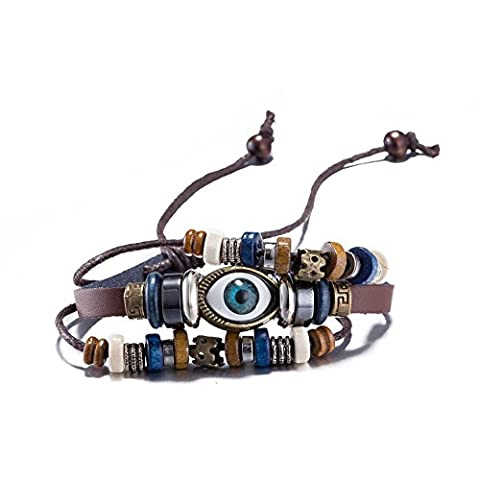 FushoP Multilayer Adjustable Evil Eye Braided Beads Leather Bracelet Bangle (Plated bronze)