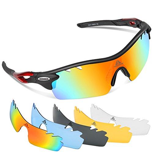 HODGSON Fahrradbrille Sport Sonnenbrille für Herren und Damen Polarisierte, Sportbrille mit 5 Wechselobjektiven und Radsports, Baseball, Laufen, Tr90-Rot …