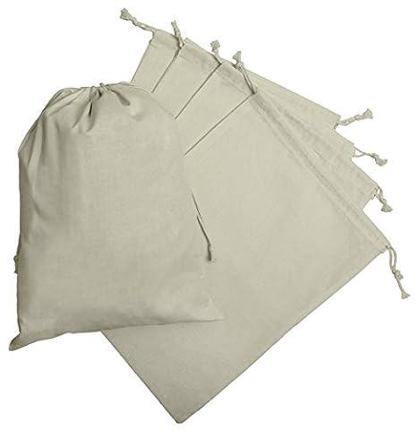 Baumwollbeutel mit Kordelzug (30x40 - 6 Stück, Weiss) (Cotton Schlaf Kleidung)