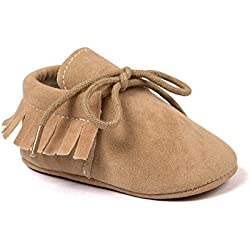 Auxma Moda Bebé niña cuna borlas vendaje suave único Casual zapatos niño Zapatillas (12cm 6-12 meses, Caqui)
