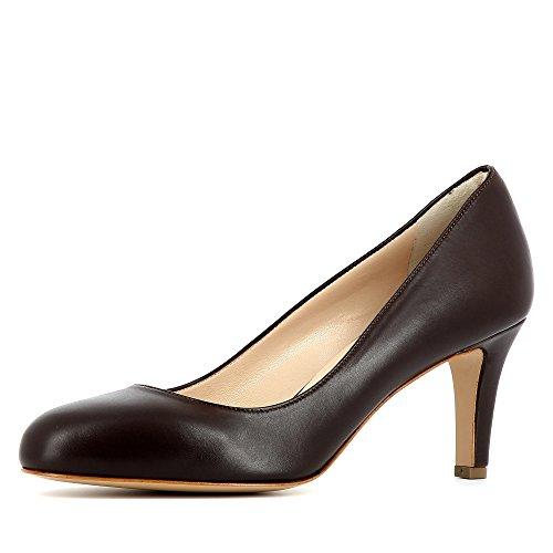BIANCA escarpins femme cuir lisse marron foncé