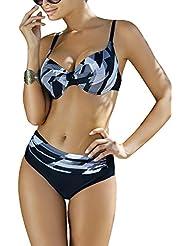 Ewlon Kler Traje De Bano De Dos Piezas Bikini Con Relleno Push-Up Para Mujeres Tirantes Regulables No Extraíbles Con Aros - Hecho En La UE