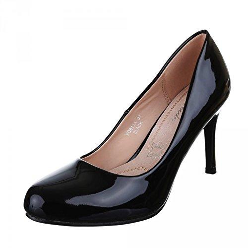 Klassische Damen Lack Pumps Glänzend Stilettos Abend Schuhe