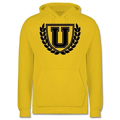 Anfangsbuchstaben - U Collegestyle - Männer Premium Kapuzenpullover / Hoodie Gelb