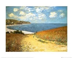 Reproduction d'art 'Chemin dans les blés à Pourville, 1882', de Claude Monet, Taille: 50 x 40 cm