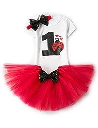 Bebé Niña Vestido Cumpleaños 3pcs Corona Patrón de Primer/Segundo Cumpleaños para Vestido de Tutú