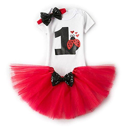 Festlich 3PCs Erster Geburtstag Onesie Tutu-Kleid Stirnband Roter Marienkäfer/1Jahr ()