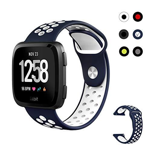 ZONEYILA für Fitbit Versa Armbänder, Sport-Silikonersatzriemen mit Einfassung für Fitbit Versa Smart Fitness Armbanduhr,6 Farben (Large, Navy/White - Check Size Before Ordering) -