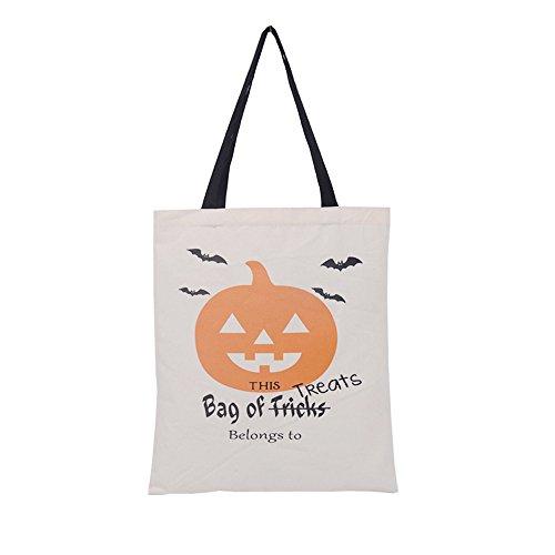 Deloito Mode Damen Halloween Süßigkeitentasche Geschenktasche Leinwand Tote Beiläufig Strandtaschen Einkaufstasche Handtasche (B)