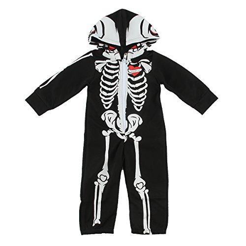Puseky Baby Jungen Mädchen Halloween Schädel Skeleton Kapuzenpullover Zipper Overall Strampler (6-12 Monate, Schwarz) (Schädel Kostüme)