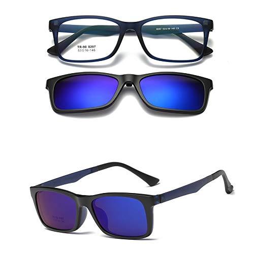 LKVNHP Neue Hochwertige Magnetische Myopie Sonnenbrille Männer Frauen Doppelobjektiv Polarisierte Sonnengläser Blendschutz Uv400 Spiegel Getönte Driving ShadesBlau
