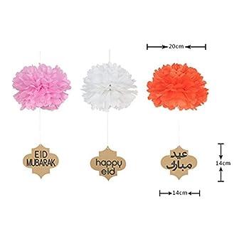 Lembeauty 6pcs Seidenpapier Flower Ball Hängen Pom Mit Eid Mubarak Tags Für Party Einkaufszentrum Aktivitäten Fenster Decor 2
