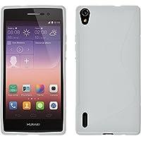 PhoneNatic Case für Huawei Ascend P7 Hülle Silikon weiß S-Style + 2 Schutzfolien
