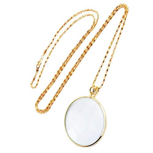 Merssavo Vergrößerkette Zinklegierung Halskette 5 Mal Lesen Zeitung Charme Lupe Senden (Gold)