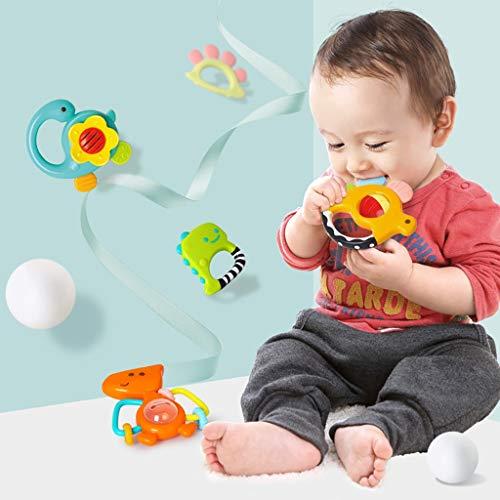 CHshe-⭐- Baby Spielzeug - 5 Stück Baby Bett Glocke Rassel Neugeborenes Sicherheit Ungiftig Beißring Spielzeug Geschenk für Baby 3-12 Monate