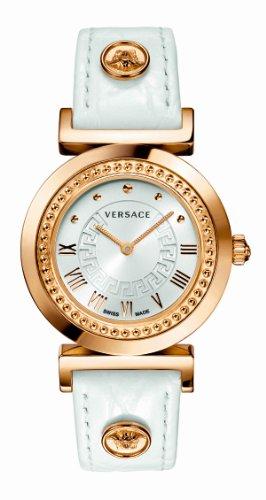 Versace–P5Q80D001S001Montre bracelet pour femme, bracelet en cuir couleur blanc