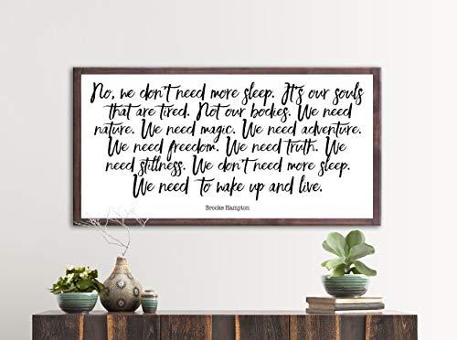 Ethelt5IV Inspiriert Zitat Holz Schild Buch Zitat Wandkunst Brooke Hampton Zitat Zitat Drucke Country Home Decor aus Holz gerahmte Wandkunst (Rustikale Wohnkultur Buch)