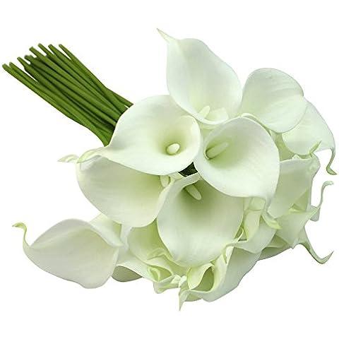 Calla Lily nuziale festa di nozze 20pcs Bouquet decorazioni in lattice di tocco del fiore (Calla Kit)