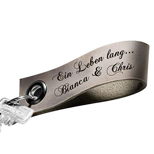 elanhänger mit Gravur aus echtem Leder – taupe | grau - Key ring Schlüsselband mit Ihrem Wunschtext graviert (Muttertag Schrift)