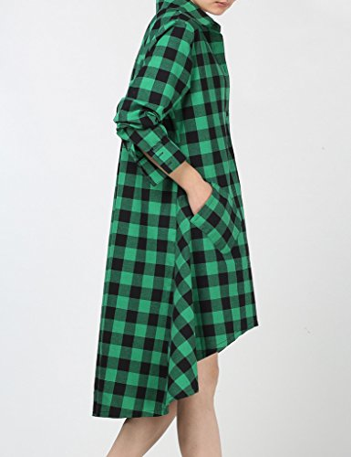MatchLife Femmes Casual Manches Longues Hi-Low Hem Coton Plaid Utility Chemise Robe Vert