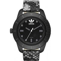 Adidas Herren-Armbanduhr 48mm Armband Leder Multicolor Gehäuse Edelstahl Quarz Zifferblatt Schwarz ADH3043