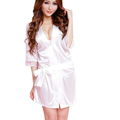 ESAILQ Damen Spitze Seide Unterwäsche Dessous Nachtwäsche Nachthemd Robe Dress(Freie Größe,Weiß)