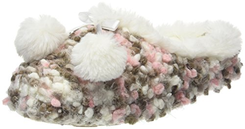 Totes Bobble Knit Mule Slippers, Pantofole Donna Avorio (Natural)