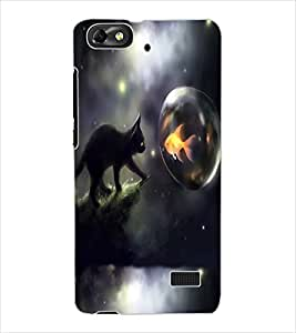 ColourCraft Cat and Fish Design Back Case Cover for HUAWEI G PLAY MINI