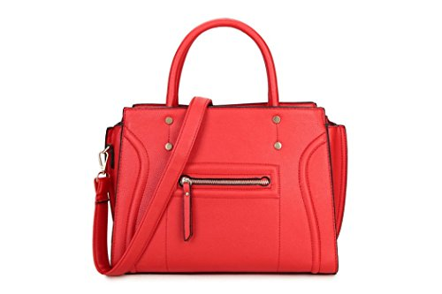 569681133f96f ... Charme) Rot Tragetasche. LeahWard Große Taschen für Frauen Qualität  Faux Leder Schultertaschen Taschen für die Schule CW0155 (Braun