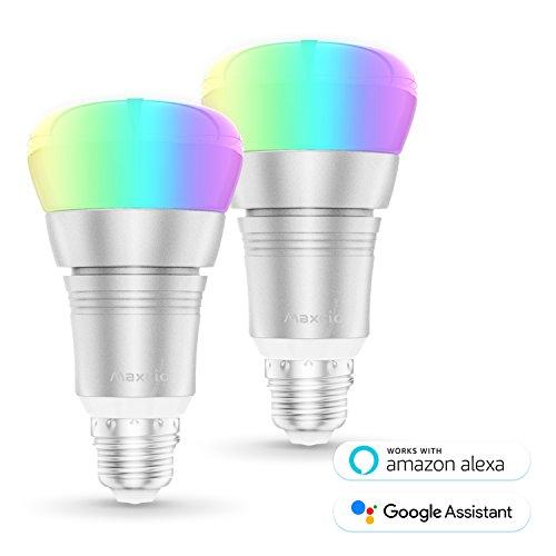 Ampoule Intelligente, Maxcio Ampoule WiFi Contrôle à Distance via APP Gratuit (IOS et Android), Minuterie et Couleur Dimmable, 9W-E27 Ampoule Alexa, pas besoin de Hub (2 Packs)