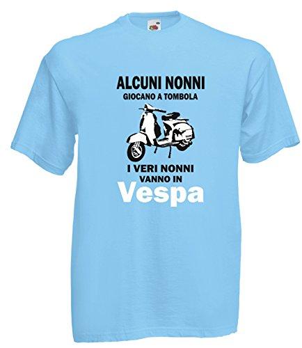 Settantallora - T-shirt Maglietta J1695 Alcuni Nonni Giocano a Bingo i Veri Nonni Vanno in Vespa Taglia L