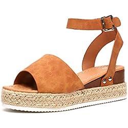 Sandalias Mujer Plataformas Cuña Verano Alpargatas Hebilla Zapatos Playa Punta Abierta Tacon 5.5cm Correa de Tobillo Marrón EU40