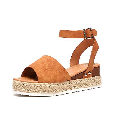 Das Beste Frauen Der Damen Flache Keil Espadrille Rom Tie Up Sandalen Plattform Sommer Schuhe Zapatos De Hombre #3 Frauen Sandalen