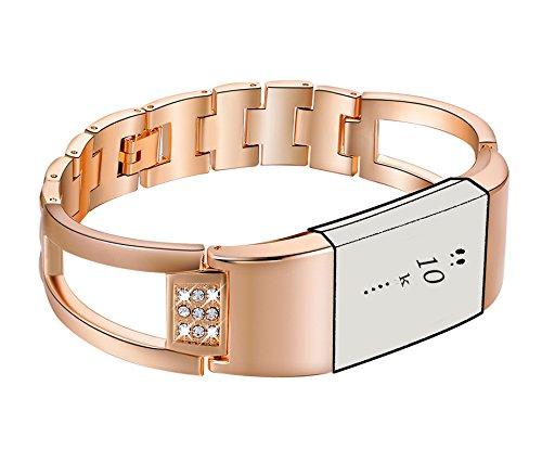 Ersatz-Bänder für Fitbit Charge 2, 【 2018New Style 】 Premium-Armbanduhr-Zubehör, Metall-Band, für Fitbit Charge 2/Fitbit Charge 2Band (ohne Tracker), C01-Rose Gold
