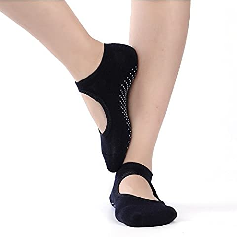 Non Slip Cotton Skid Pilates Yoga Socks, Massage Socks With Grips Best Fitness/Dance/Pilates/Ballet /Sports For Woman,Women Shoe Size UK 2.5-7 /EU 35-40 (HCT02 Balck)