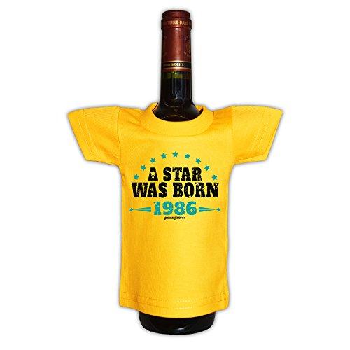 (Mini T-Shirt - A Star was born 1986 - Originelle Verpackung - Geschenkidee - Geburtstag - Party Gag - Flaschenverpackung)