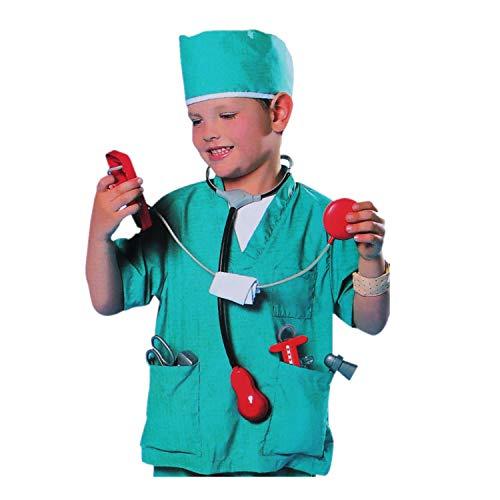 iixpin Unisex Chirurg Kostüm mit Zubehör Arzt Doktor Cosplay Kostüm Arztkostüm Kinder Rollenspiel Outfit Laborkittel Karneval Fasching Verkleidung Grün One_Size