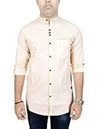 Kuons Avenue AA Men's Peach Linen Cotton with Belgian Print Mandarin Chinese Collar Long Sleeve Fusion Casual Shirt