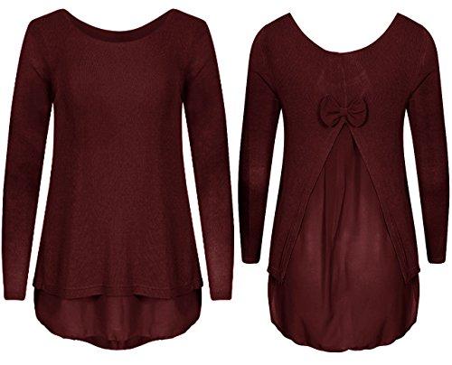 Extras Fashion Débardeur - Asymétrique - Manches Longues - Femme Bordeaux